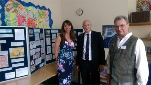Jayne Forster, PAC Director and Mark Barrett, PAC Director meeting with John at the celebration of their new name 'Promoting Autonomy and Change'